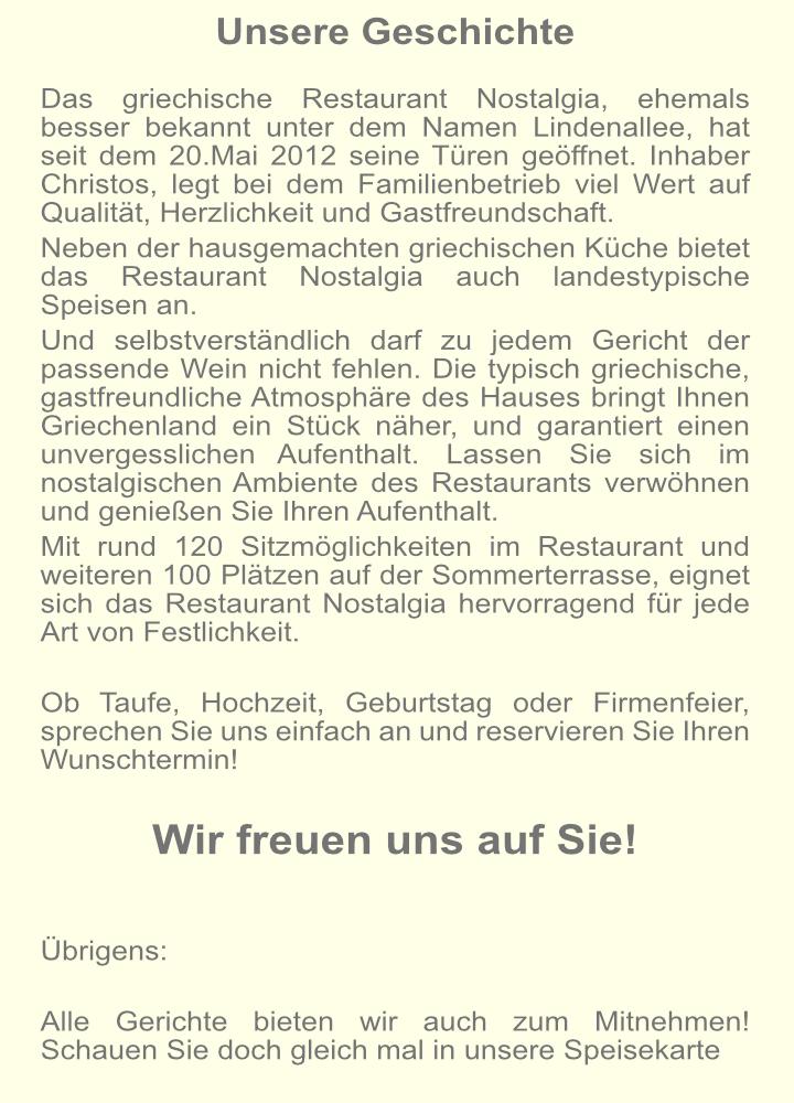 Nostalgia Restaurant Hausgemachte Griechischen Küche Und